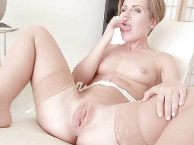 Naughty mature Sasha Zima enjoys fingering will not hear of sweet fuck space