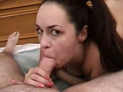 Careful and solid blowjob is provided by such a lovely amateur busty GF