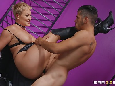 Perfect mature acts medial with her male slave