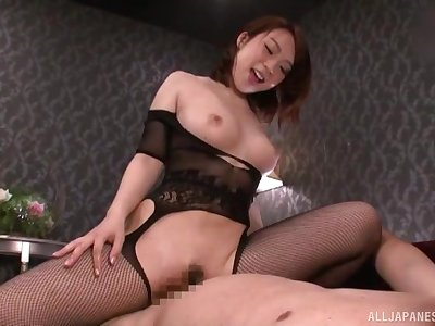 Japanese mom sits on top and rides dick cognate with a diva