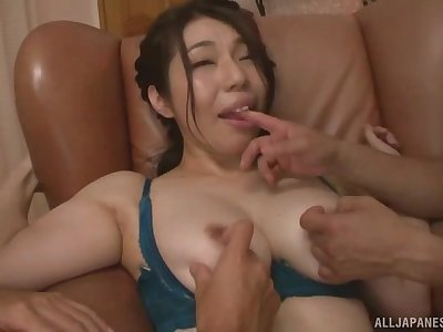 Japanese mommy fucked by several lovers and jizzed on ass