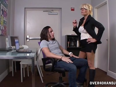 Muscular mature blonde Gina gets denude and wants the dick!