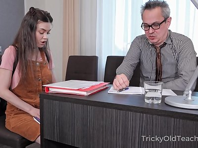 Tricky old cram enjoys fucking enticing coed Tina Grey and cums in her mouth