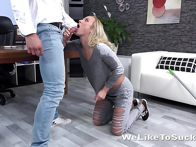 Nice blond coddle Eveline Neill is fucked by tattooed handsome boyfriend