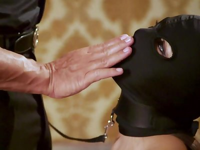 Masked whore plays obedient with cock on every side both holes