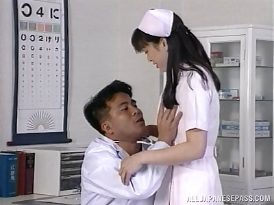Hardcore fucking on the medical centre bed around Japanese nurse Hitomi